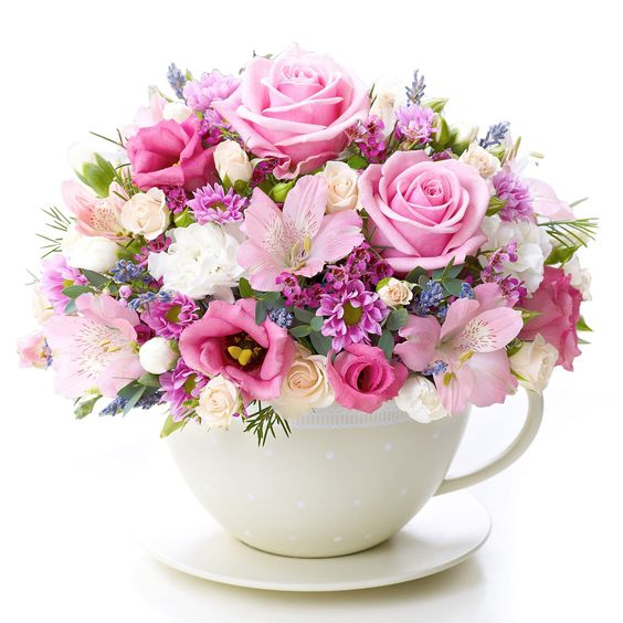 birthday gifts pink flowers in a tea cup